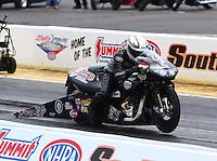 May 19, 2014; Commerce, GA, USA; NHRA pro stock motorcycle rider John Hall during the Southern Nationals at Atlanta Dragway. Mandatory Credit: Mark J. Rebilas-USA TODAY Sports