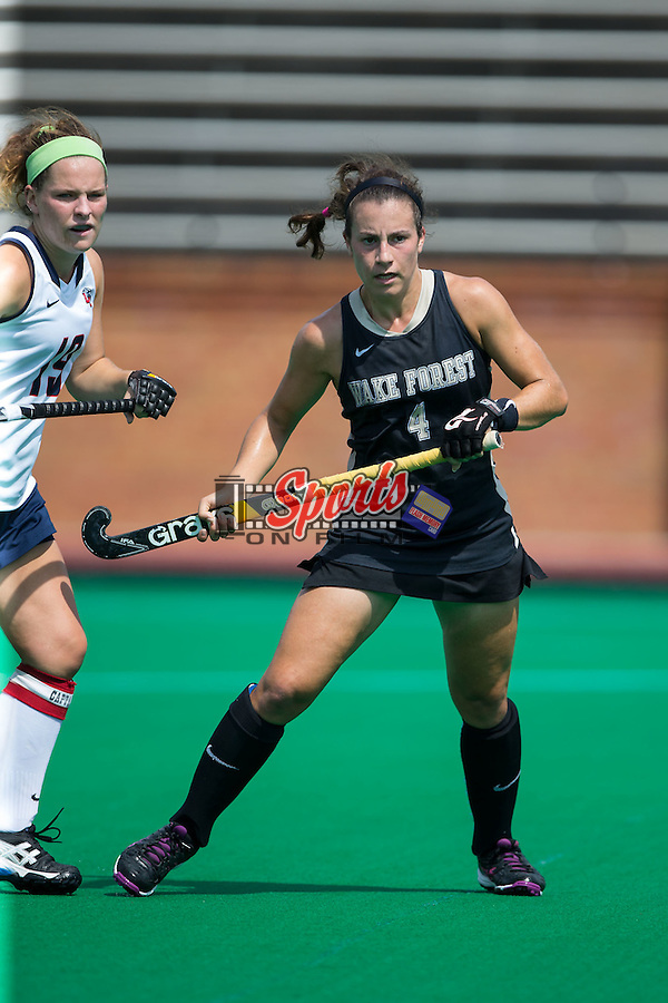 Jessy Silfer (4) of the Wake Forest Demon Deacons during second half action against the Liberty Flames at Kentner Stadium on September 20, 2015 in Winston-Salem, North Carolina.  The Demon Deacons defeated the Flames 2-1.  (Brian Westerholt/Sports On Film)