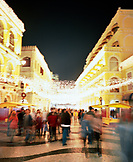 CHINA, Macau, Asia, People walking on the famous swirling black and white pavements of Largo do Senado square in central Macau, Macau, China, blurred motion