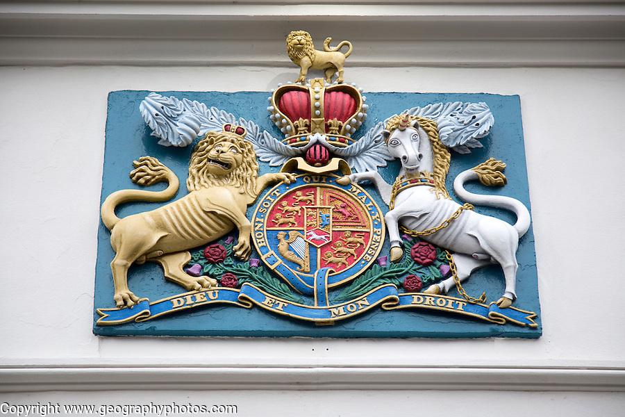 Royal Coat of Arms, Dieu et mon droit, Falmouth, Cornwall, England, UK