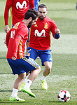 Spain's Isco Alarcon (l) and Daniel Carvajal during training session. March 21,2017.(ALTERPHOTOS/Acero)
