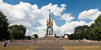 Albert Memorial in Kensington Gardens, London, England, commissioned by Queen Victoria in memory of her husband Prince Albert.