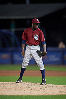 Mahoning Valley Scrappers relief pitcher Adoni Kery (52) looks in for the sign during a game against the Williamsport Crosscutters on August 28, 2018 at BB&T Ballpark in Williamsport, Pennsylvania.  Williamsport defeated Mahoning Valley 8-0.  (Mike Janes/Four Seam Images)