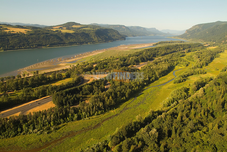 Aerial view of the Columbia River Gorge.