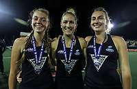 Madison Doar, Stacey Michelsen and Liz Thompson during the World Hockey League final between the Netherlands and New Zealand. North Harbour Hockey Stadium, Auckland, New Zealand. Sunday 26 November 2017. Photo:Simon Watts / www.bwmedia.co.nz