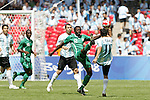 23 August 2008: Ebenezer Ajilore (NGA) (12) and Angel Di Maria (ARG) (11) challenge for the ball. Argentina's Men's National Team defeated Nigeria's Men's National Team 1-0 at the National Stadium in Beijing, China in the Gold Medal match in the Men's Olympic Football tournament.