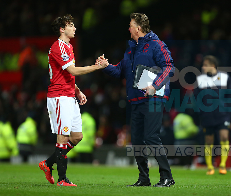 Louis Van Gaal, manager of Manchester United thanks Matteo Darmian - Barclay's Premier League - Manchester United vs Watford - Old Trafford - Manchester - 02/03/2016 Pic Philip Oldham/SportImage