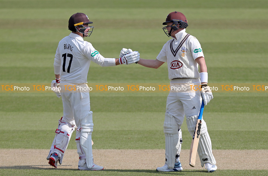 Ollie Pope (right) of Surrey congratulates Rory Burns on scoring fifty runs during Surrey CCC vs Essex CCC, Specsavers County Championship Division 1 Cricket at the Kia Oval on 14th April 2019