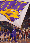 March 08 2009     A Norhtern Iowa cheerleader waves the giant UNI flag before the start of the game.  The Panthers of the University of Northern Iowa defeated the Redbirds of Illinois State University 60-57 in overtime in the championship game of the Missouri Valley Conference Tournament on Sunday March 8, 2009 at the Scottrade Center in downtown St. Louis, Missouri.   ..         *******EDITORIAL USE ONLY*******