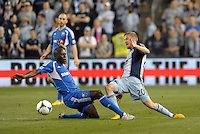 Hassoun Camara (6) defender Montreal Impact ,  Oriol Rosell (20) midfield Sporting KC.Sporting Kansas City defeated Montreal Impact 2-0 at Sporting Park, Kansas City, Kansas.