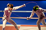 (L-R) Kazuyasu Minobe (JPN), Pavel Sukhov (RUS),<br /> AUGUST 8, 2013 - Fencing :<br /> World Fencing Championships Budapest 2013, Men's Individual Epee Round of 32 at Syma Hall in Budapest, Hungary. (Photo by Enrico Calderoni/AFLO SPORT) [0391]