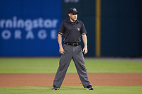 First base umpire John Mang during the International League game between the Durham Bulls and the Charlotte Knights at BB&T BallPark on July 31, 2019 in Charlotte, North Carolina. The Knights defeated the Bulls 9-6. (Brian Westerholt/Four Seam Images)