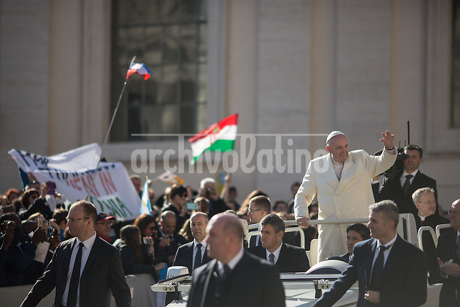 Vatican City, March,2,2016.Every Wednesday the Holy Father holds a General Audience where he greets the pilgrims present and delivers a catechesis. &quot;The Catholic Church does not want people to donate &quot;dirty money&quot; earned by abusing low-paid workers&quot;, Pope Francis said on Wednesday.<br /> <br /> &quot;Some donors come to the Church offering profits from the blood of people who have been exploited, mistreated, enslaved with badly paid work,&quot; Francis said during his regular weekly audience with pilgrims at the Vatican.