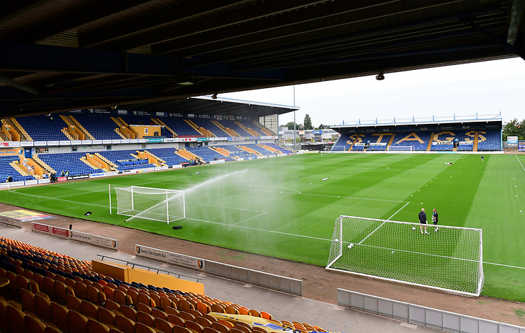 A general view of Field Mill, home of Mansfield Town FC<br /> <br /> Photographer Chris Vaughan/CameraSport<br /> <br /> The EFL Checkatrade Trophy - Mansfield Town v Lincoln City - Tuesday 29th August 2017 - Field Mill - Mansfield<br />  <br /> World Copyright &copy; 2018 CameraSport. All rights reserved. 43 Linden Ave. Countesthorpe. Leicester. England. LE8 5PG - Tel: +44 (0) 116 277 4147 - admin@camerasport.com - www.camerasport.com