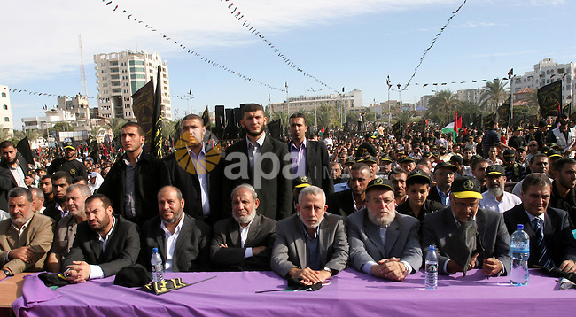 Leaders from Hamas and  Islamic Jihad movements attend a rally to mark the 23rd anniversary of the establishment of the Islamic Jihad movement and the assassination of the founder of their movement Fathi Shiqaqi , in Gaza city on Oct. 29,2010 . Photo by Mohammed Asad