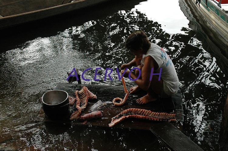 """PESCA DO PIRARUCU AUTORIZADA PELO IBAMA  800t - Somente este ano um programa iniciado pelo Instituto Mamirau·  teve permitido pelo Ibama a liberaÁ""""o de 800t do do maior peixe de ·gua doce do planeta, beneficiando milhares de pescadores da ·rea de influÍncia da reserva de desenvolvimento sustent·vel  Mamirau· . Um dos principais projetos da instituiÁ""""o o   programa de comercializaÁ""""o do pescado iniciado  em 1998 comeÁou com uma cota de  3t , com o sucesso do manejo do piraruc˙ este ano sobe para 800t. Amanã·, TefÈ, Amazonas,  BrasilFoto Paulo Santos/Interfoto27/11/2004"""