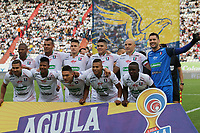 MANIZALES - COLOMBIA, 31-08-2019: Jugadores de Once posan para una foto previo al encuentro por la fecha 9 de la Liga Águila II 2019 entre Once Caldas y América de Cali jugado en el estadio Palogrande de la ciudad de Manizalez. / Players of Once pose to a photo prior the match for the date 9 of the Liga Aguila II 2019 between Once Caldas and America de Cali played at the Palogrande stadium in Manizales city. Photo: VizzorImage / Andres Valencia / Cont