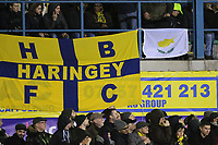 A Haringey flag is seen with a Cyprus flag during Haringey Borough vs AFC Wimbledon, Emirates FA Cup Football at Coles Park Stadium on 9th November 2018