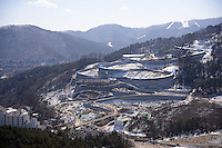 Building the sled run at the Alpensia Resort is a ski resort and a tourist attraction. It is located on the territory of the township of Daegwallyeong-myeon, in the county of Pyeongchang.  Alpensia Resort will host some events  for the 2018 Winter Olympics and 2018 Winter Paralympics in Pyeongchang.