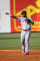 Louisville Bats second baseman Dilson Herrera (15) makes a throw to first base against the Toledo Mud Hens during the International League baseball game on May 17, 2017 at Fifth Third Field in Toledo, Ohio. Toledo defeated Louisville 16-2. (Andrew Woolley/Four Seam Images)