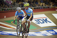 Leif Lampater (DEU) launches teammate Jasper De Buyst (BEL)<br /> <br /> they would eventually win the 2013 Ghent6<br /> <br /> Gent6 2013