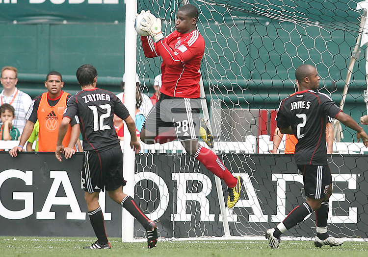 Bill Hamid #28 of D.C. United makes a save during an MLS match against the Philadelphia Union at RFK Stadium on August 22 2010, in Washington DC. United won 2-0.