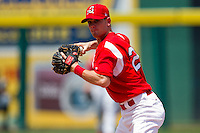 Ryan Jackson (23) of the Springfield Cardinals prepares to throw to first during a game against the San Antonio Missions on May 30, 2011 at Hammons Field in Springfield, Missouri.  Photo By David Welker/Four Seam Images