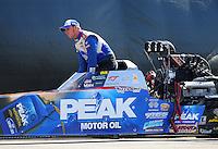 Nov. 11, 2011; Pomona, CA, USA; NHRA top fuel dragster driver T.J. Zizzo during qualifying at the Auto Club Finals at Auto Club Raceway at Pomona. Mandatory Credit: Mark J. Rebilas-.