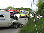 Two vehicle rta at Buleau Cross in the termonfeckin road. The occupant of the open corsa was removed to Our Lady of Lourdes Hospital. the Ford transit van hit a Telephone pole after hiting the car knocking it..Photo: Newsfile/Fran Caffrey.