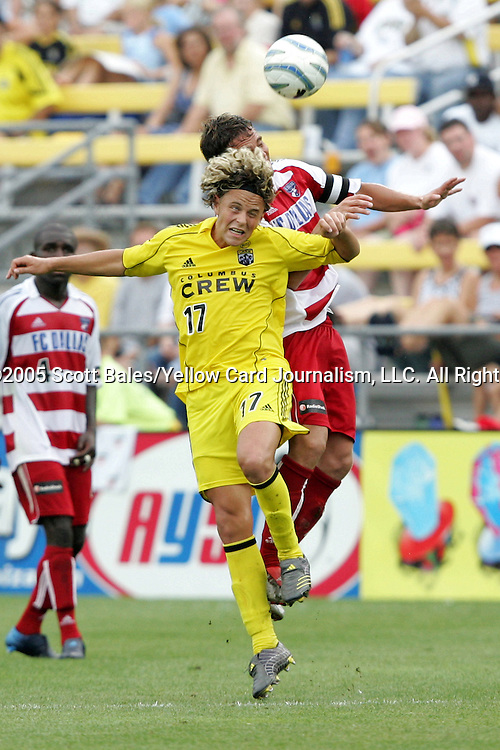 20 August 2005: Columbus's Danny Szetela (17) and Dallas's Simo Valakari (behind) challenge for a header. The Columbus Crew defeated FC Dallas 1-0 at Columbus Crew Stadium in Columbus, Ohio in a Major League Soccer Regular Season Match.