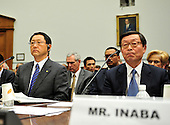 Washington, D.C. - February 24, 2010 --  Akio Toyoda, President and CEO, Toyota Motor Corporation, left, and Yoshimi Inaba, President and CEO, Toyota Motor North America, Inc., right,  testify before the U.S. House Committee on Government and Reform examining the Federal government's response to the recall of millions of Toyota vehicles due to reports of malfunctioning gas pedals, and to gain a better understanding of the nature of the sudden acceleration problem in Toyota vehicles and what should be done about it.  .Credit: Ron Sachs / CNP.(RESTRICTION: NO New York or New Jersey Newspapers or newspapers within a 75 mile radius of New York City)