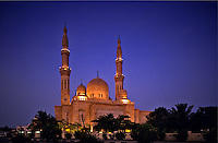 Jumeira/Jumeirah Mosque, Dubai, United Arab Emirates.  Evening.