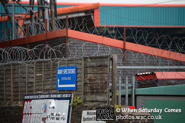 Rochdale 2 Bury 0, 15/10/2016. Spotland Stadium, League One. A sign directing the away support. Barbed wire protects the Spotland stadium. <br />
