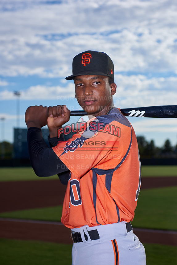 AZL Giants Orange shortstop Marco Luciano (10) poses for a photo before an Arizona League game against the AZL Giants Black on July 19, 2019 at the San Francisco Giants Baseball Complex in Scottsdale, Arizona. The AZL Giants Black defeated the AZL Giants Orange 8-5. (Zachary Lucy/Four Seam Images)