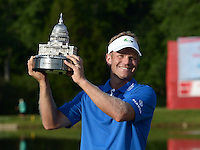 Bethesda, MD - June 26, 2016: Billy Hurley III holds his trophy after winning the Quicken Loans National Tournament at the Congressional Country Club in Bethesda, MD, June 26, 2016.  (Photo by Don Baxter/Media Images International)