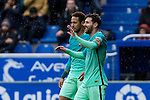 FC Barcelona's forward Leo Messi and forward Neymar Santos Jr celebrates after scoring a goal during the match of La Liga between Deportivo Alaves and Futbol Club Barcelona at Mendizorroza Stadium in Vitoria, Spain. February 11, 2017. (ALTERPHOTOS/Rodrigo Jimenez)
