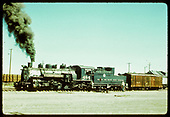 Fireman's-side view of D&amp;RGW #484 pulling box car #3214.<br /> D&amp;RGW  San Luis Valley, CO