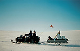 SWEDEN, Swedish Lapland, Snow Mobile on a Frozen Desert