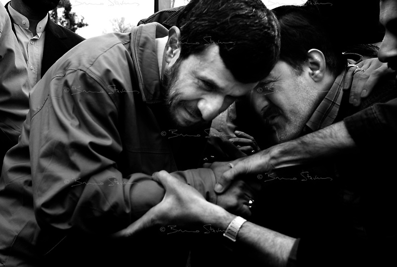Teheran, Iran, March 30, 2007.Cheered by the worshippers'crowd, Iranian President Mahmoud Ahmadinejad leaves the Friday prayer site at teheran University.