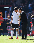 Valencia CF's  coach Gary Neville and Daniel Parejo  during La Liga match. January 17, 2016. (ALTERPHOTOS/Javier Comos)