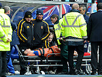 Luca Gasparotto stretchered off