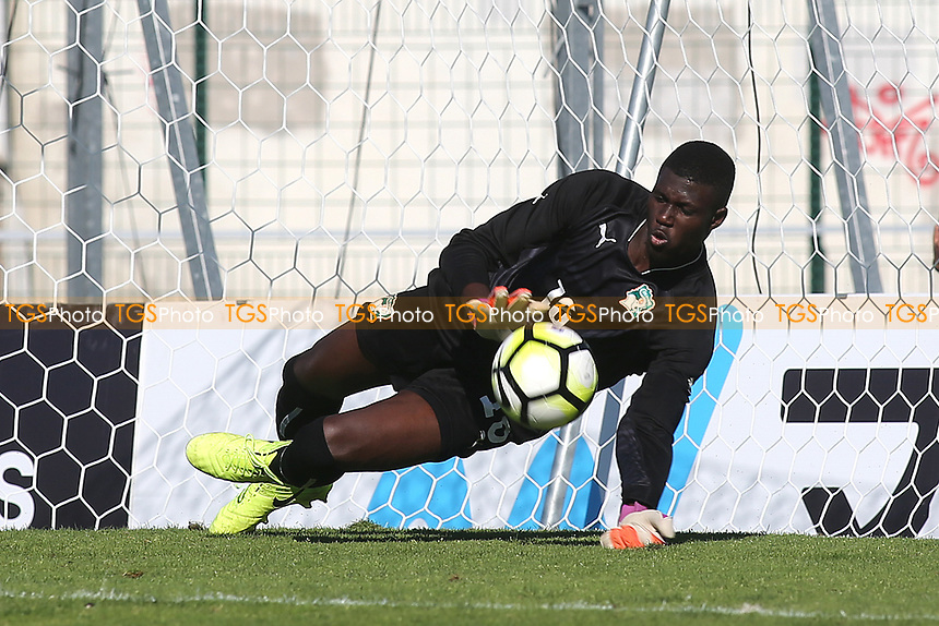 George Hirst's penalty for England is saved by the Ivory Coast goalkeeper during England Under-18 vs Ivory Coast Under-20, Toulon Tournament Final Football at Stade de Lattre-de-Tassigny on 10th June 2017