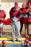 17 February 2008: Head coach John Tanner during Stanford's 10-5 win over UC Davis at the Avery Aquatic Center in Stanford, CA.