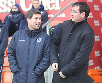 Blackpool's Manager Gary Bowyer  greets Bristol Rovers' Manager Darrell Clarke <br /> <br /> Photographer Mick Walker/CameraSport<br /> <br /> The EFL Sky Bet League One - Blackpool v Bristol Rovers - Saturday 13th January 2018 - Bloomfield Road - Blackpool<br /> <br /> World Copyright &copy; 2018 CameraSport. All rights reserved. 43 Linden Ave. Countesthorpe. Leicester. England. LE8 5PG - Tel: +44 (0) 116 277 4147 - admin@camerasport.com - www.camerasport.com