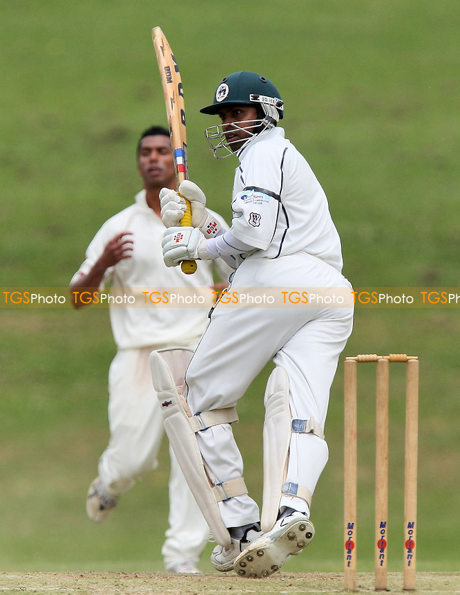 Anand Krishnan in batting action for Ardleigh Green as he makes runs from a Jahid Ahmed delivery - Ardleigh Green CC vs Brentwood CC - Essex Cricket League - 13/06/09 - MANDATORY CREDIT: Gavin Ellis/TGSPHOTO - Self billing applies where appropriate - 0845 094 6026 - contact@tgsphoto.co.uk - NO UNPAID USE.