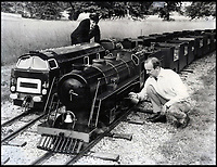 BNPS.co.uk (01202 558833)<br /> Pic:  BraybrookCollection/BNPS<br /> <br /> Lord Braybrooke servicing one of the model trains.<br /> <br /> A late aristocrat's prized collection of model trains has sold for £244,000.<br /> <br /> Lord Braybrooke set up a miniature garden railway 55 years ago in the grounds of his stately home at Audley End House in Saffron Walden, Essex.<br /> <br /> He died in 2017 and his family parted with nine of his locomotives to raise funds to improve the railway's facilities so it can keep running for future generations.