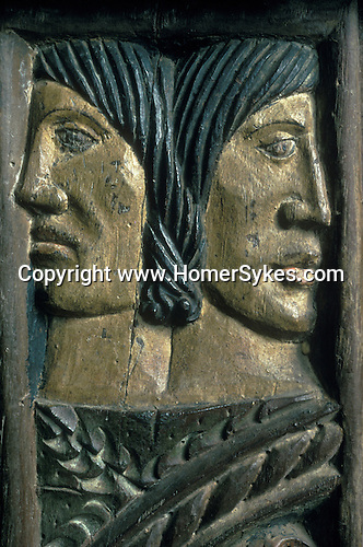 Janiform Heads carved on the Rood screen carving.  Sancreed Church, Cornwall, England.