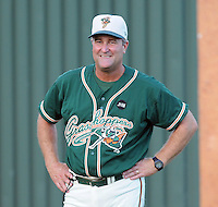 August 13, 2009: Pitching coach Charlie Corbell (25) of the Greensboro Grasshoppers, Class A affiliate of the Florida Marlins, in a game at Fluor Field at the West End in Greenville, S.C. Photo by: Tom Priddy/Four Seam Images