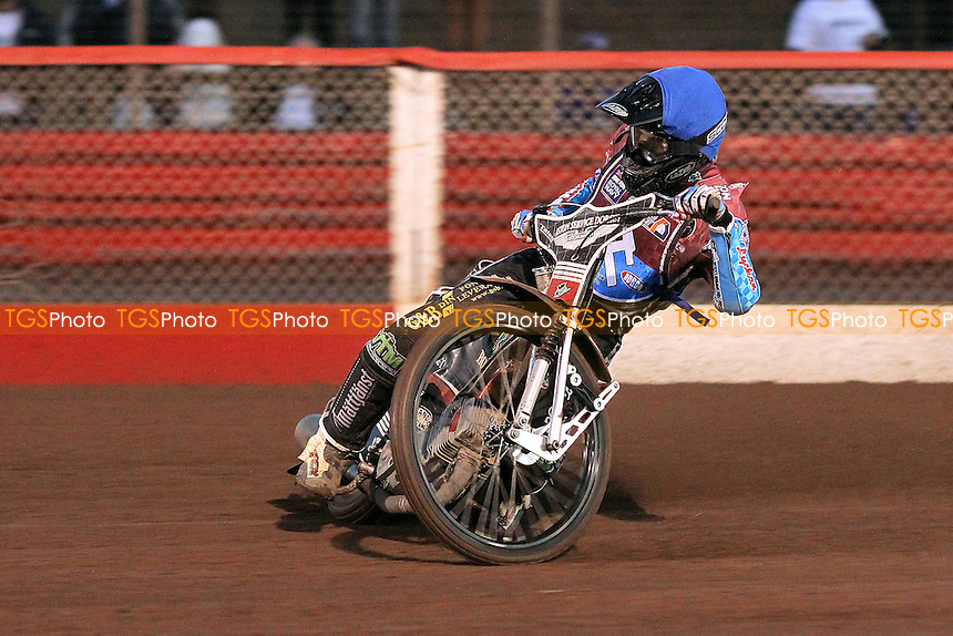 New Lakeside signing Adam Ellis (blue) in riding action - Lakeside Young Hammers Eastbourne Eaglets - Anglian Junior League Speedway at Arena Essex Raceway, Purfleet - 28/09/12 - MANDATORY CREDIT: Gavin Ellis/TGSPHOTO - Self billing applies where appropriate - 0845 094 6026 - contact@tgsphoto.co.uk - NO UNPAID USE.