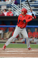 Williamsport Crosscutters outfielder Dylan Cozens (18) at bat during a game against the Batavia Muckdogs on September 4, 2013 at Dwyer Stadium in Batavia, New York.  Williamsport defeated Batavia 6-3 in both teams season finale.  (Mike Janes/Four Seam Images)